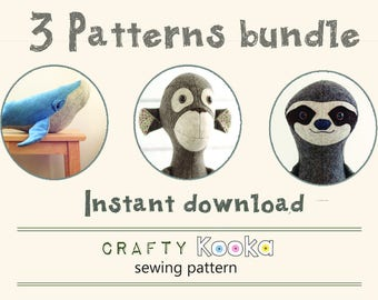 Sewing patterns pdf - stuffed animal pattern, step-by-step sewing tutorials, Whale sewing pattern, Monkey pattern, Sloth pdf pattern