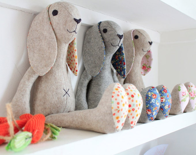 Rabbit Stuffed animal pattern bunny rabbit instant download pdf pattern