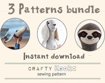 Toy sewing pattern pdf bundle, Whale pattern, Bunny pattern, Sloth pdf pattern