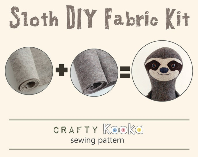Sloth sewing kit - stuffed toy DIY fabric kit - Sloth sewing pattern and materials - pure wool felt to make sloth soft toy