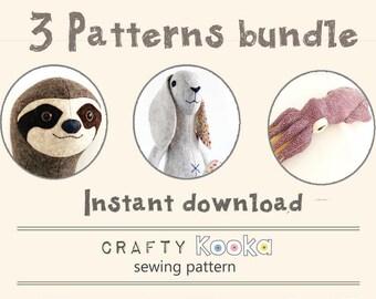 Felt animal patterns bundle, step-by-step sewing tutorials, sloth pattern, bunny rabbit pattern and squid pdf pattern