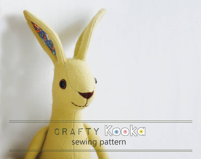 Jackrabbit, Bunny rabbit softie pattern, with straight up ears, integrated nose and step-by-step  tutorial f,  big eared bunny
