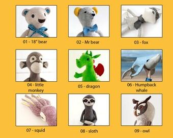 Choose Any Three - Stuffed animal pattern bundle, pdf sewing pattern, softie pattern, PDF sewing patterns  bundle of 3
