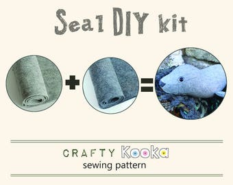 DIY kit - make your very own seal - pure wool felt kit to make your own seal toy  - felt kit DIY seal