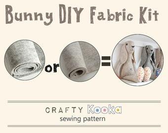 Bunny Rabbit  stuffed toy DIY fabric kit - bunny felt kit and sewing pattern to make your own rabbit - pure wool felt kit DIY bunny