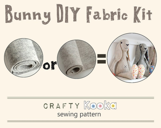Bunny Rabbit  stuffed toy DIY fabric kit - bunny felt kit and sewing pattern to make your own rabbit - pure wool felt kit DIY bunny