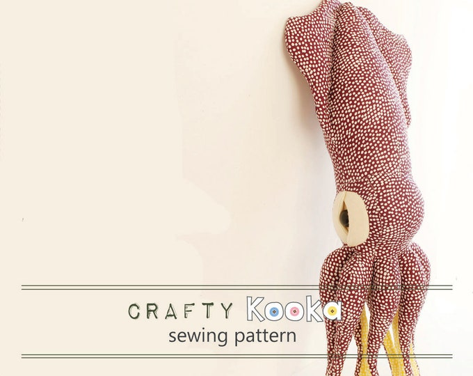 Squid Stuffed animal sewing pattern pdf for instant download