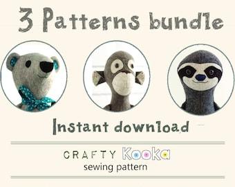 Stuffed toy sewing pattern pdf - step-by-step sewing tutorials, Memory Bear sewing pattern, Monkey pattern, Sloth pdf pattern