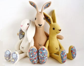 Bunny rabbit sewing pattern bundle, from left to right, floppy ear rabbit, Hare and jackrabbit - pdf files for instant download
