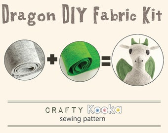 Dragon sewing kit -  stuffed toy felt kit and sewing pattern to make your own dragon - pure wool felt kit DIY dragon