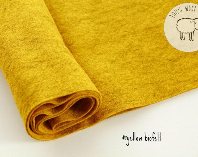 Wool felt roll, Yellow mustard color wool felt roll, felt by the yard, gorgeous wool felt made from biofelt and coloured