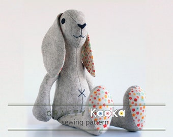 Bunny sewing pattern, sewing tutorial, toy sewing pattern  - instant download pdf pattern - sewing projects