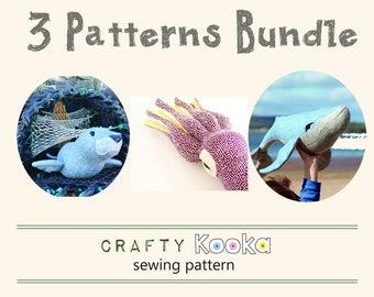 Sea creatures pattern bundle, PDF sewing patterns  bundle of 3 stuffed animals patterns, seal pattern, whale pattern, squid pattern