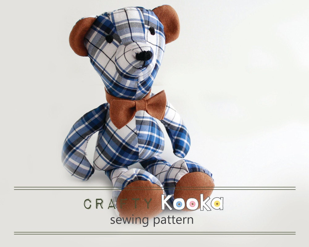 Bear Sewing Pattern Memory Bear Pattern Sew Your Own Soft Toy Bear