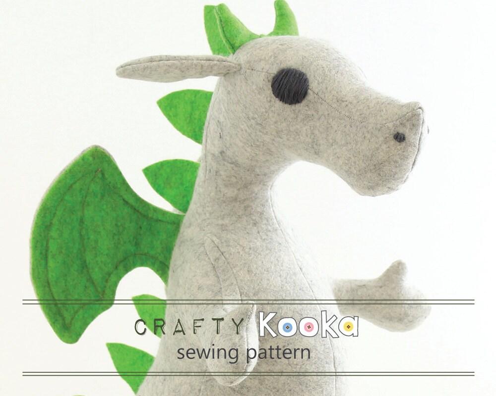 Dragon sewing kit - stuffed toy felt kit and sewing pattern to make ...