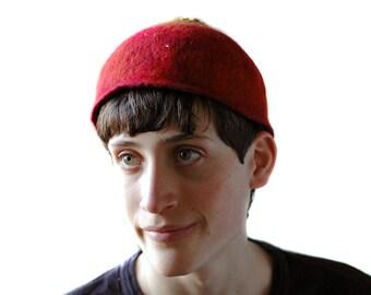 Red Felted Skull Cap Beanie Style Hat Gryffindor House Kippah Yarmulke Merino Wool Renaissance Hat Man Unisex