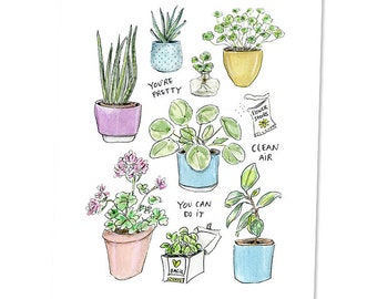 Plant lover print A5 / crazy plant lady / houseplants drawing / plants are friends art / herbs / grow something / flower seeds illustration