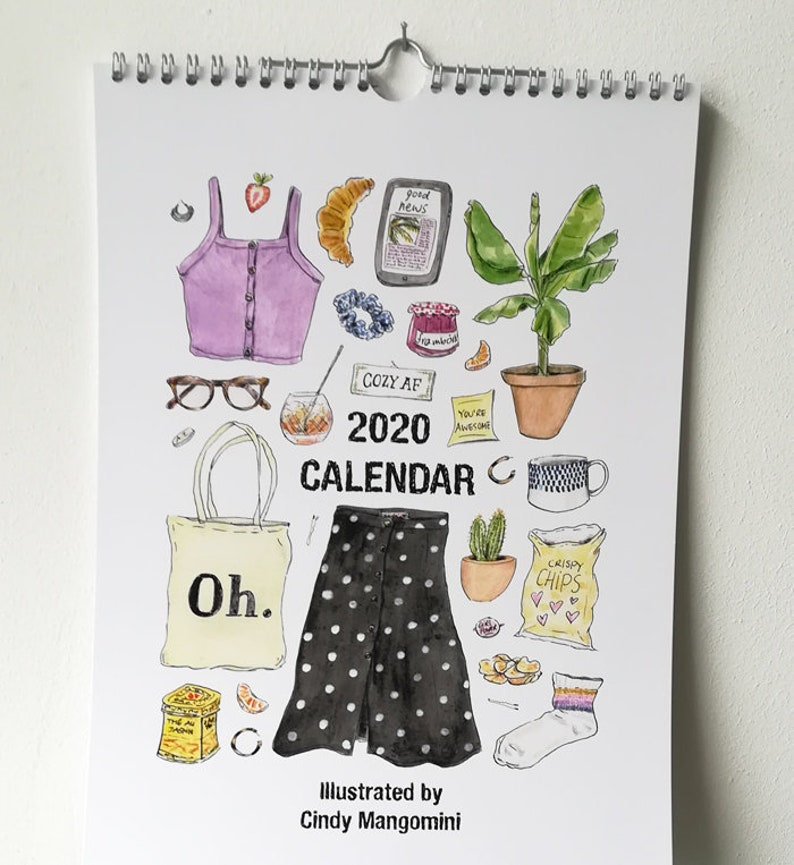 2020 Fashion Wall Calendar Cute Illustrated Calendar Fashion image 0