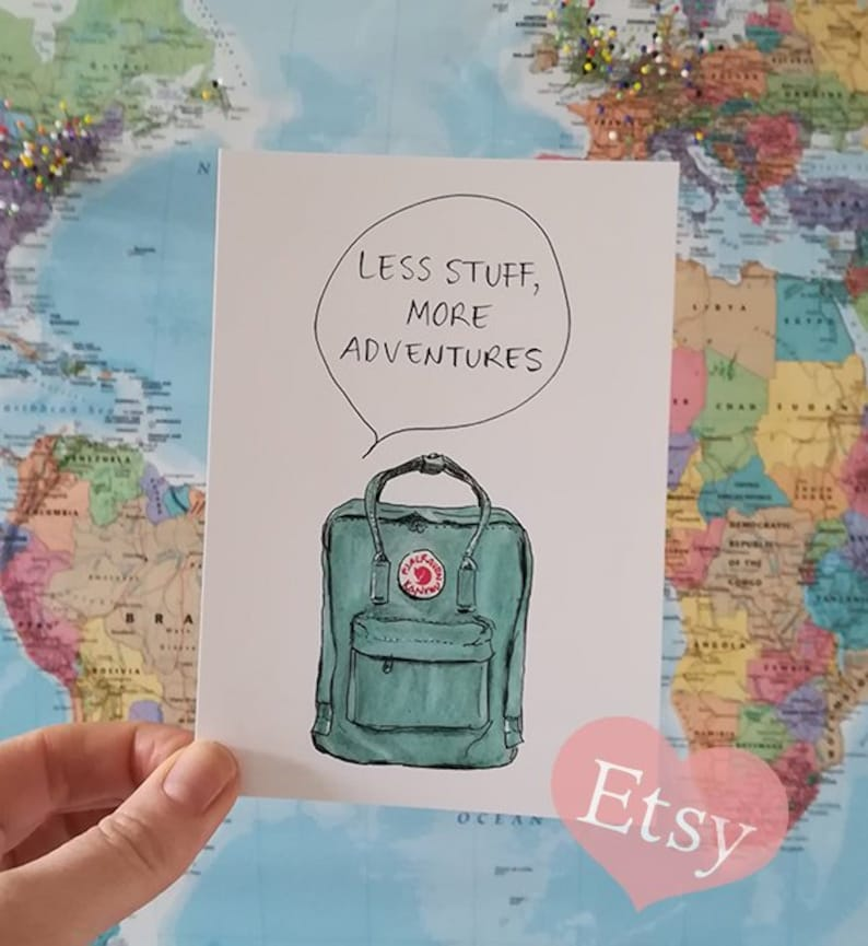 Adventure Card Adventure Quote Postcard Backpack Travel image 0