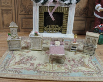 Miniature 1/4 1:48 48th 1/48 Quarter Scale Shabby Chic Armoire bed room  Furniture for Dollhouse Doll Bedroom  handmade roombox.