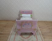 OOAK Dollhouse romantic French bed. 1 12 dollhouse miniature furniture. Hand painted furniture dollhouse miniature. Baroque furniture.