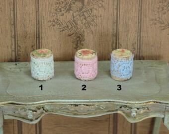Dollhouse Miniature Handcrafted set 6 Green Silk Ribbon Bow Bath Towels /& Rugs