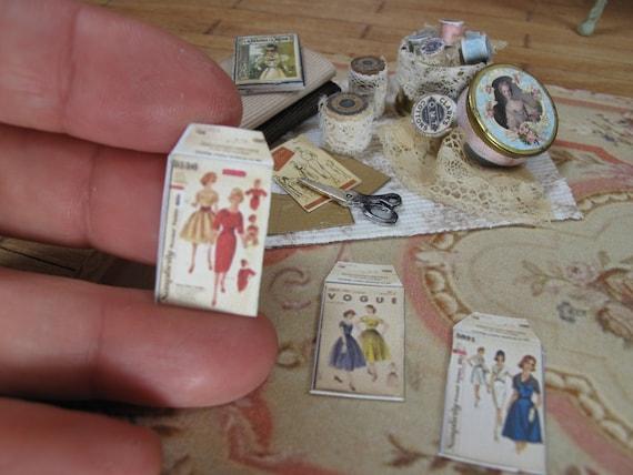 6 Miniature  Vintage Ladies Birthday Cards Dollhouse 1:12 scale