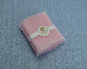 Miniature  Dollhouse miniature Baby Blanket pink or blue