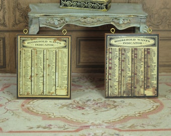 1:12 Shabby Miniature Household Wants Indicator. Victorian  style brocante for dollhouse miniature collectors. DollhouseEphemera wall sign