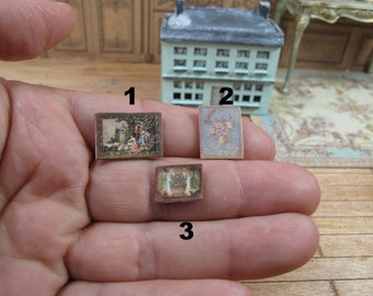 Miniature 1/4 1:48 48th 1/48 Quarter Scale Shabby Chic vintage wall panels  for Dollhouse Doll decoration room  handmade roombox.