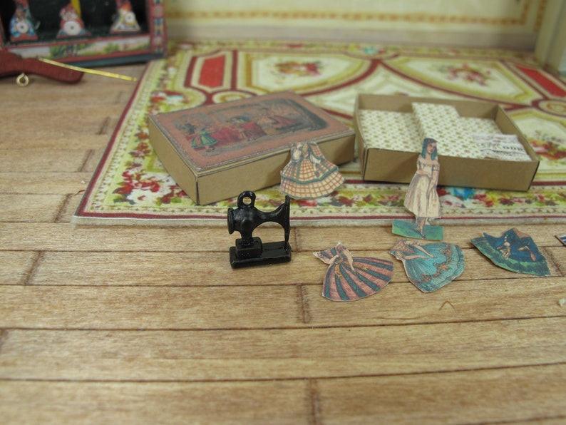 Dollhouse Miniature german paper dolls dressmarker 1:12 Miniature  games and toys  for dollhouse collectors.