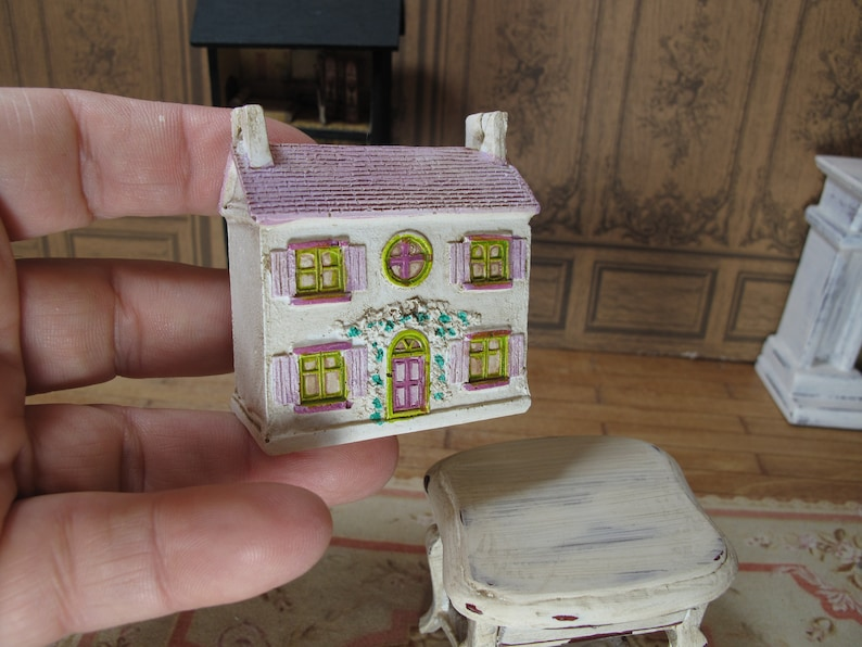 Dollhouse Miniature pink doll house for dolls inside house  Romantic toy  house for dolls  Miniature toy for doll houses  Christmas doll toy