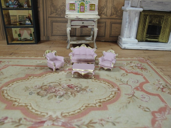 Scale 1,48 Victorian living room set,4 pcs Sofa, 2 chairs and table Gold  blue 1/4 1:48 48th 1/48 Quarter Scale Furniture for Dollhouse