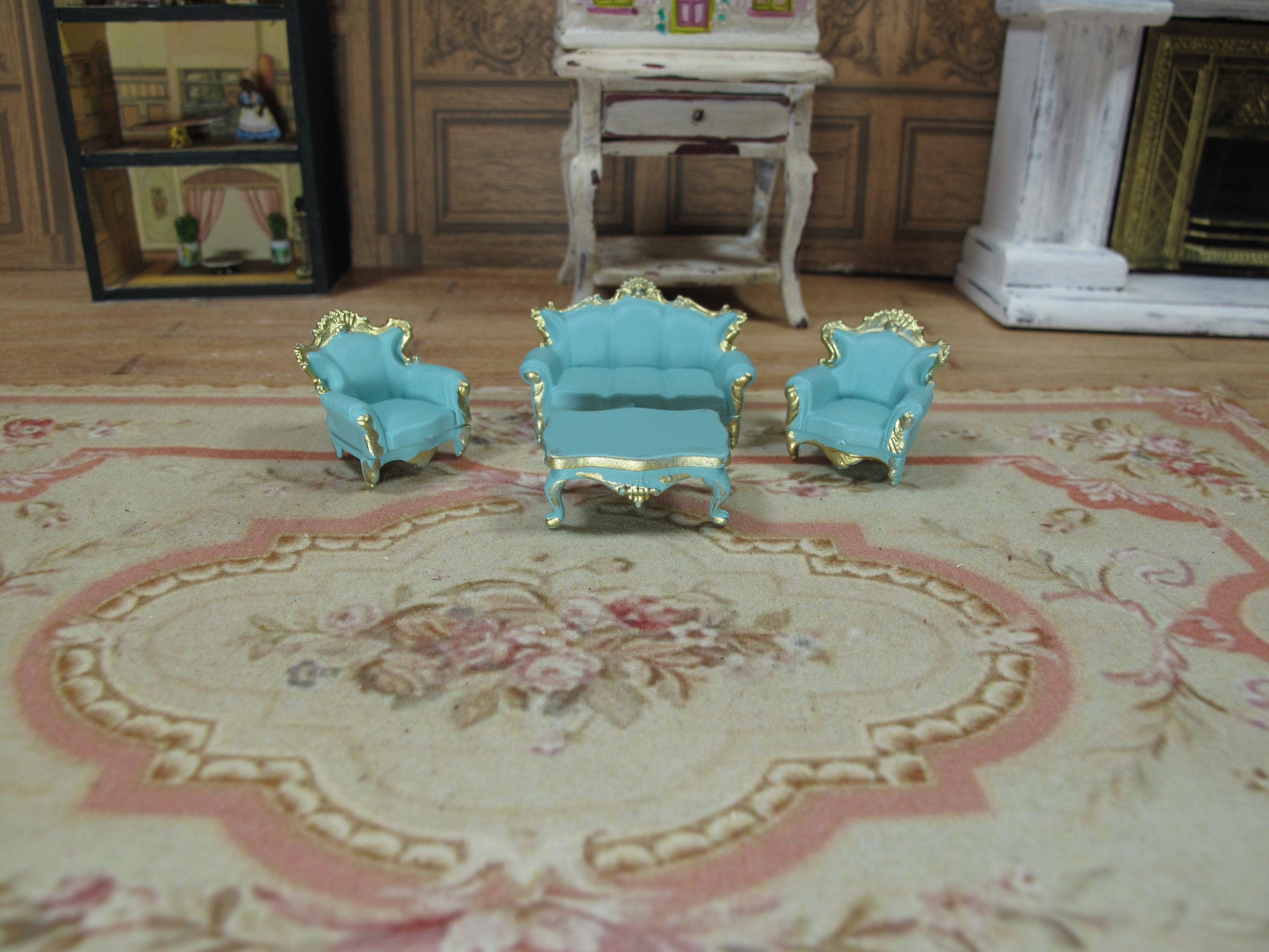 Scale 1 48 Victorian Living Room Set 4 Pcs Sofa 2 Chairs And Table Gold Blue 1 4 1 48 48th 1 48 Quarter Scale Furniture For Dollhouse