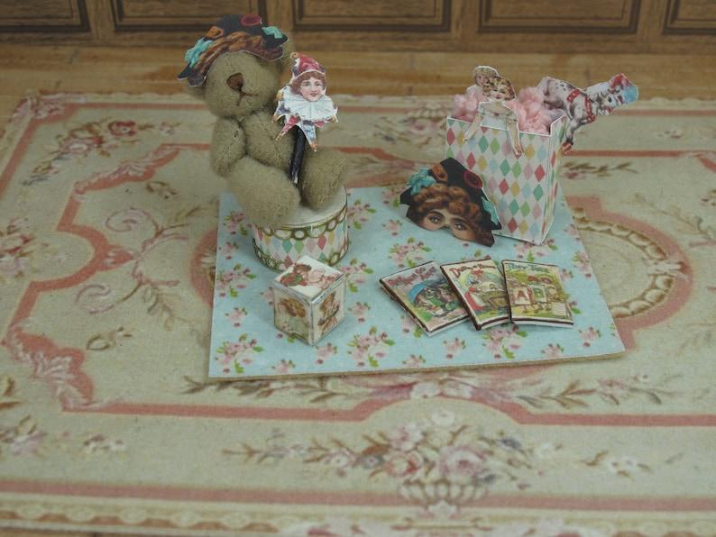 Handmade Ga\u00ebl Miniature Vintage Games carpet toys in rug zone teddy bear Dollhouse Miniature child game Accessory toy