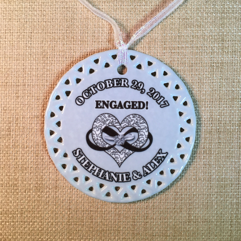 Engagement Keepsake Christmas Ornament With The Eternal Love Symbol