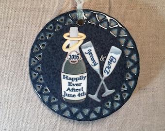Newlywed Gift, Keepsake Ornament, Champagne Marriage Celebration Ornament