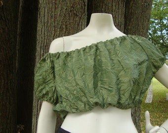 Green Peasant top