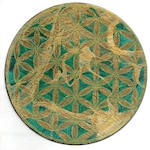 Hand-printed and hand-colored Flower of Life Crystal Grid—green and gold.