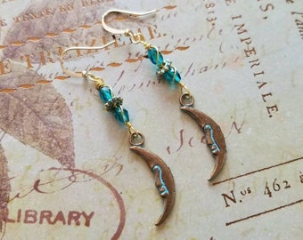 Hanging by the Moon - Patina'd earrings with Teal Crystal