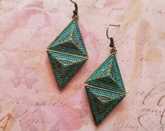 Patina'd Pyramids - Geometric Tribal Boho Dangle Earrings