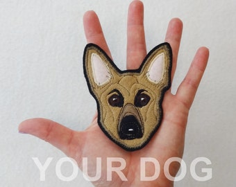 Dog Portrait Custom Patch. Personalized Gift Textile Art. German Shepherd