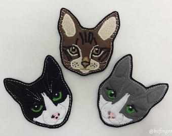 Cat Portrait Custom Patch. Textile Art