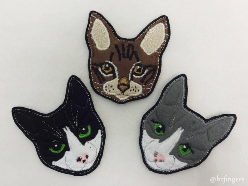 Cat Portrait Custom Patch. Textile Art image 0