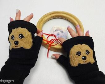 Dog Portrait Custom Fingerless Gloves with Pockets. Dog Walking / Dog Training