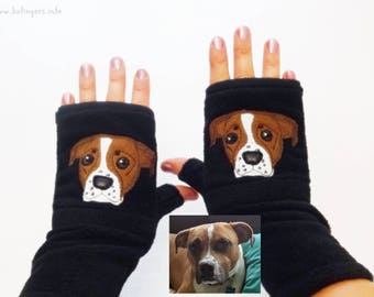 Your Pooch Portrait Personalized Gloves with Pockets. Best Gift for Dog Lovers.
