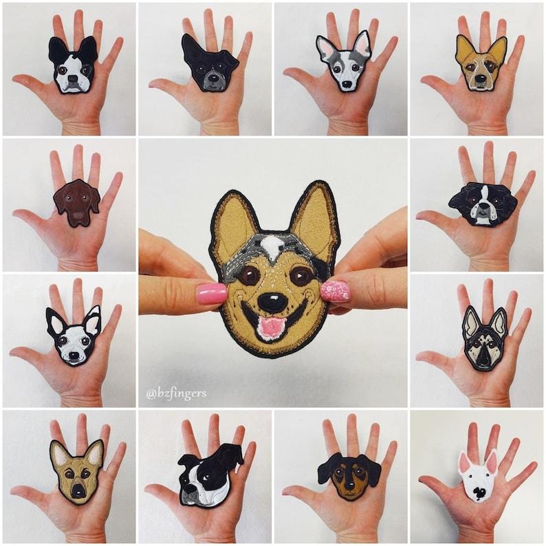 Dog Portrait Patch. Personalized Custom Dog Gift. Textile Art. image 0