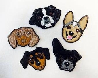 Dog Portrait Patch. Personalized Custom Gift. Textile Art.
