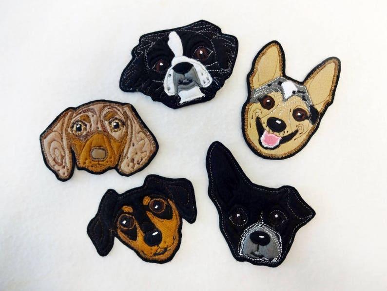 Dog Portrait Patch. Personalized Custom Gift. Textile Art. image 0