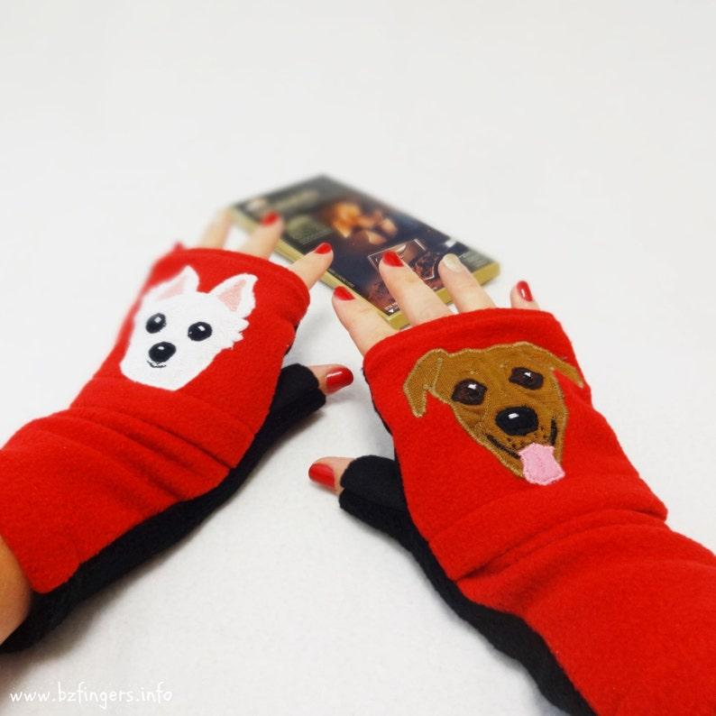 Dog Portrait Custom Fingerless Gloves with Pockets. Dog image 0